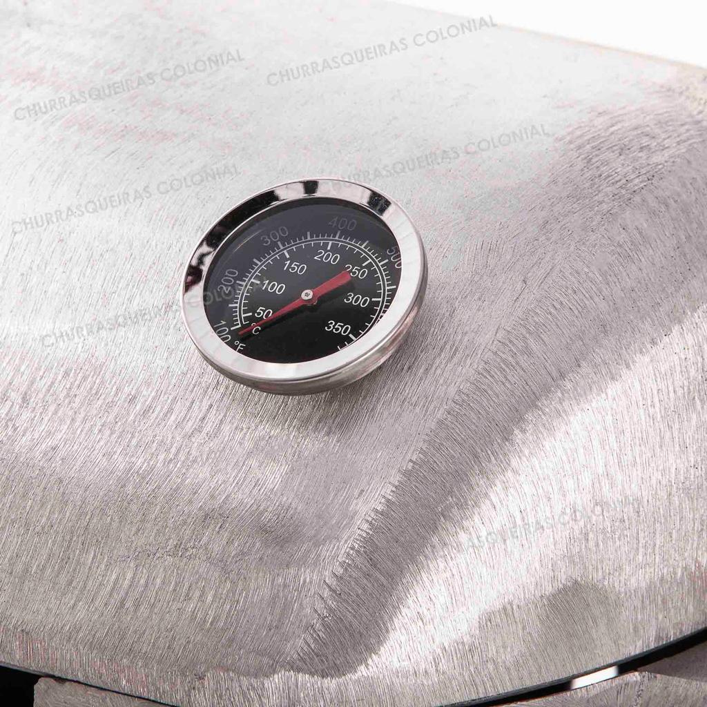 Churrasqueira a Bafo Aluminio Fundido com Grelha e  Termômetro Alças de Madeira
