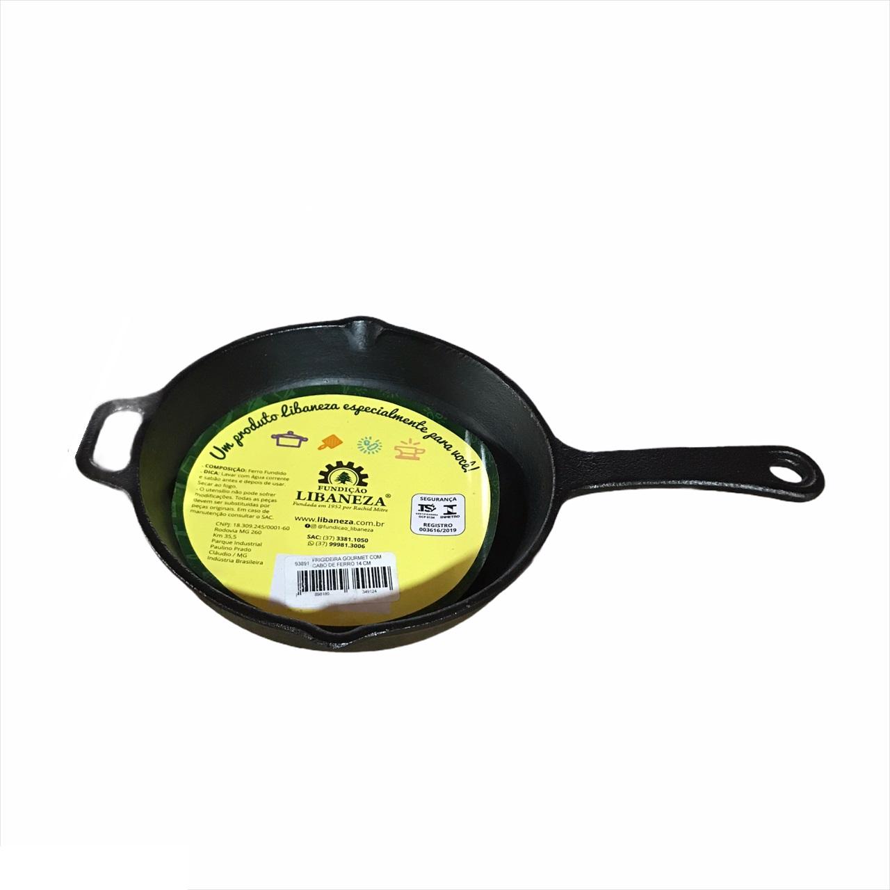 Frigideira Gourmet Ferro Fundido 0,3 Litro Cabo de Ferro 14 cm