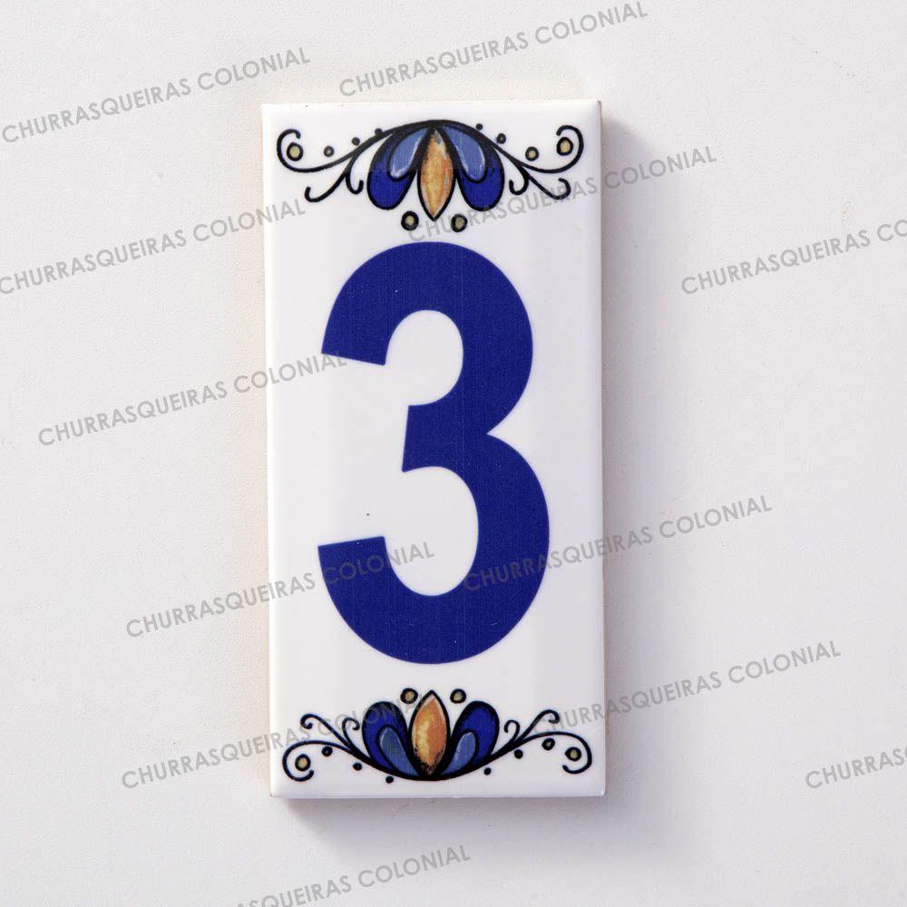 Número 3 para Casa Residência em Cerâmica Esmaltada 7,5 x 15 cm