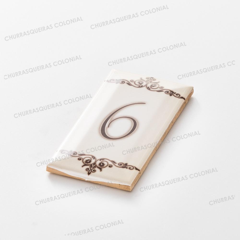 """Número para Residência """"6"""" Cerâmica Esmaltada Marrom 7,5 x 15 cm"""