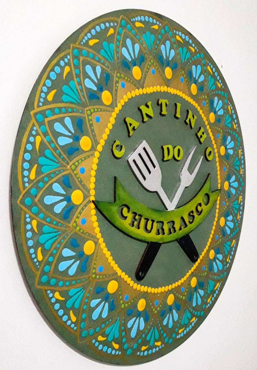 Placa Decorativa Cantinho do Churrasco Pintura Livre 35 cm CC-70