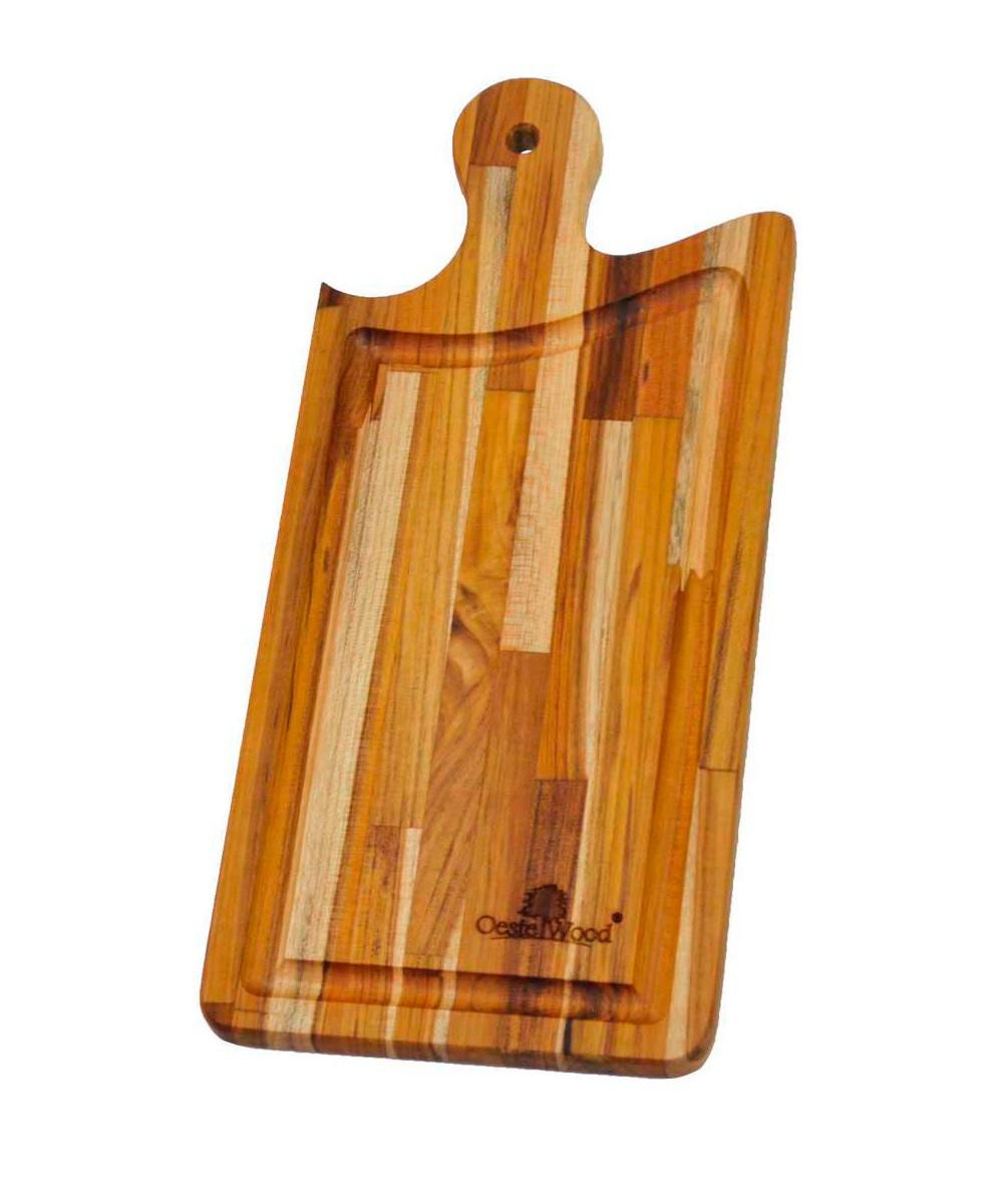 Tábua de Corte para Churrasco e Cozinha Preparar e Servir Madeira Teca 39 x 18 cm