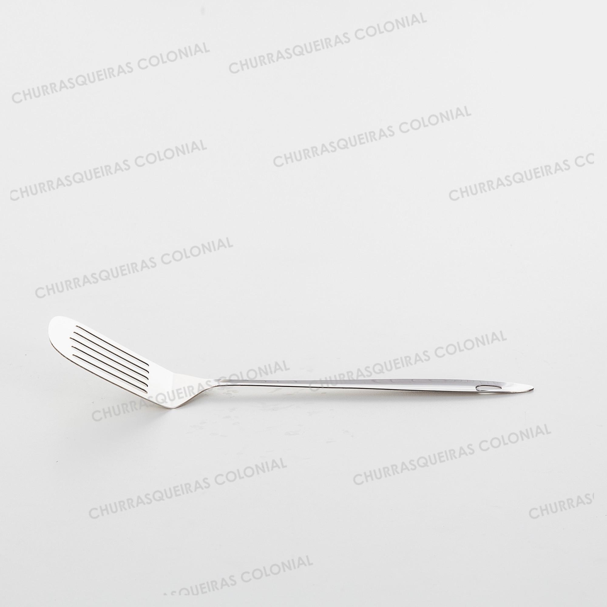 Espátula de Cozinha para Fritura e Lanches Aço Inox 32 cm