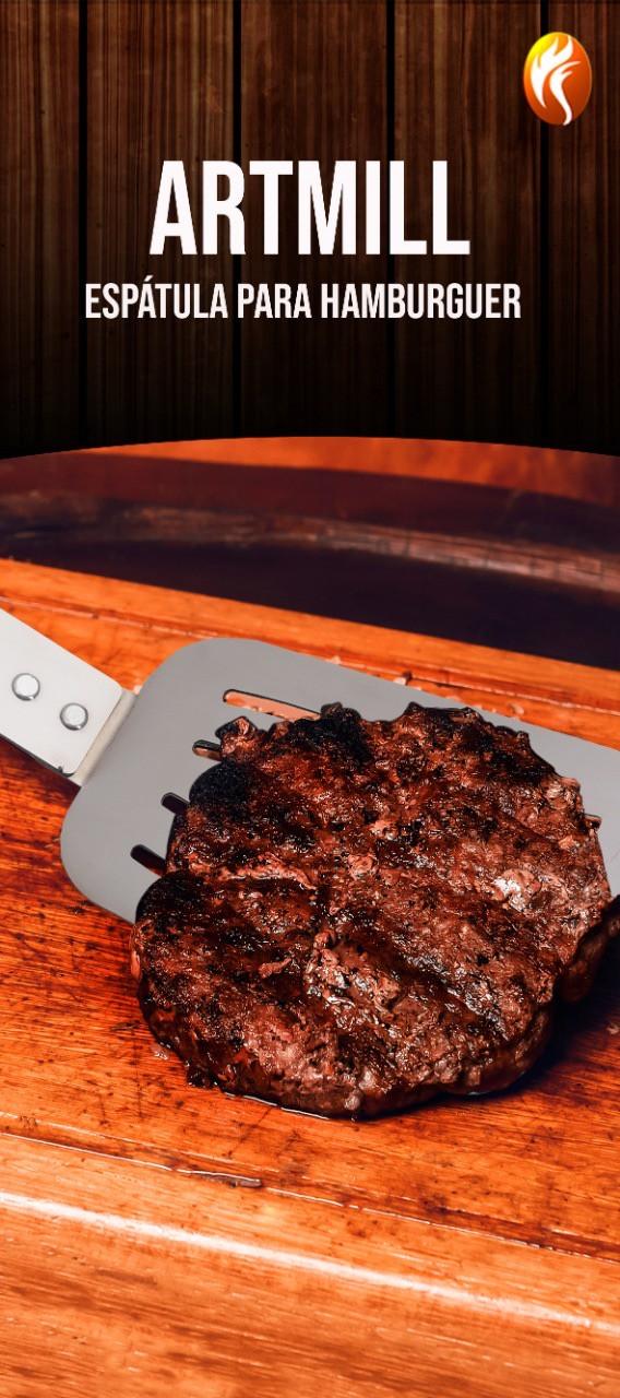 Espátula para Churrasco Hamburguer Lanches Aço Inox Cabo Madeira 51 cm