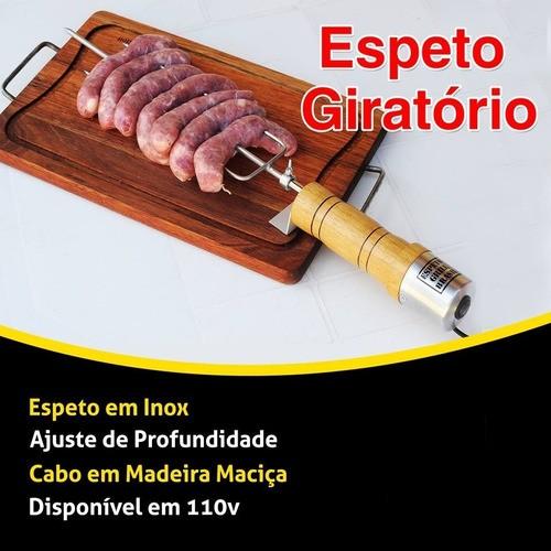 Espeto Elétrico Giratório com Regulagem Aço Inox Cabo de Madeira