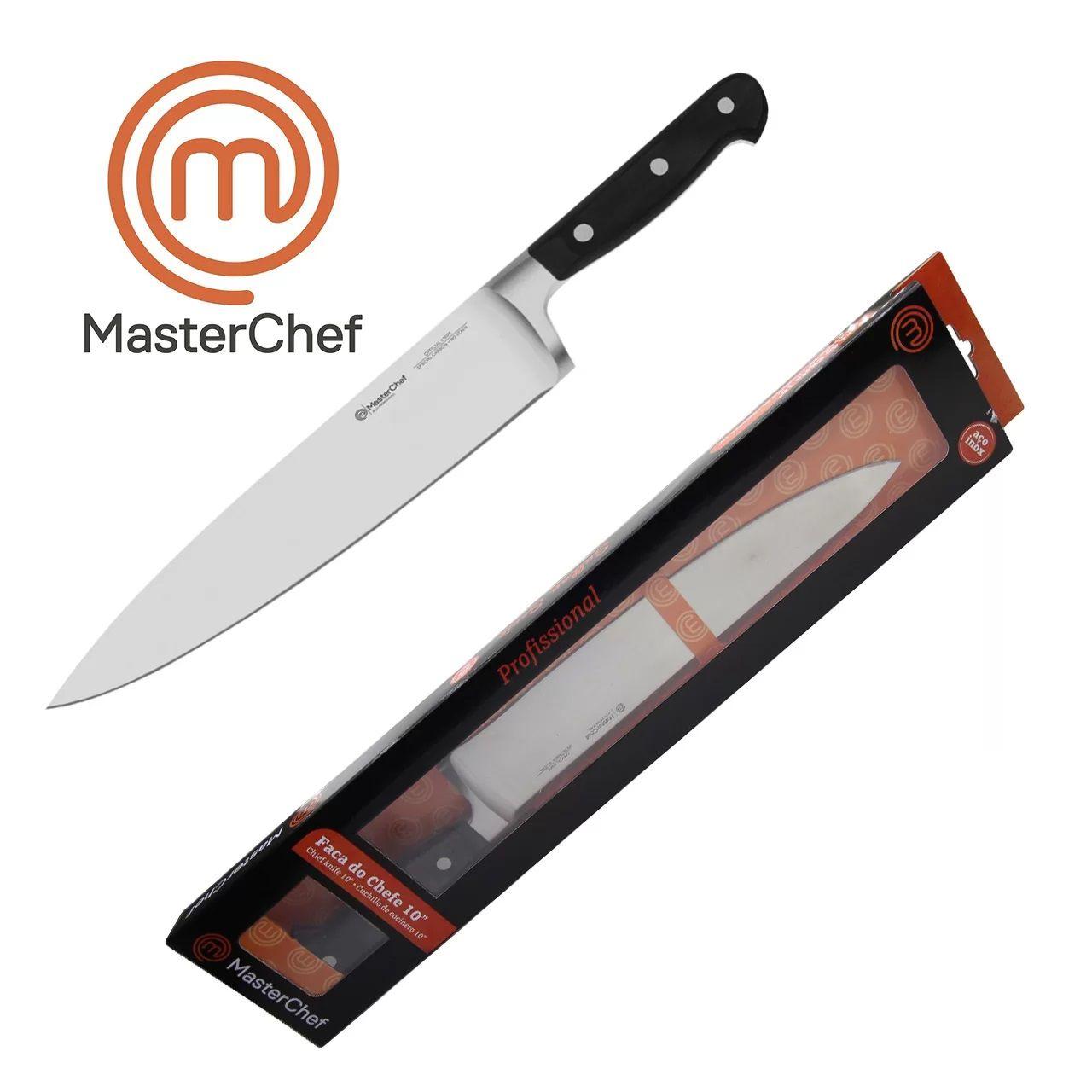 """Faca do Chefe 10"""" Lâmina Aço Inox Monobloco para  Churrasco e Cozinha Linha Masterchef"""