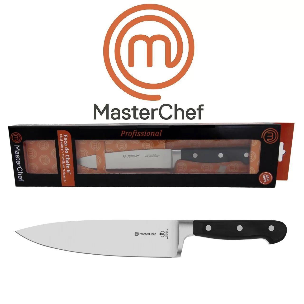 """Faca do Chefe 6"""" Lâmina Aço Inox Monobloco para  Churrasco e Cozinha Linha Masterchef"""