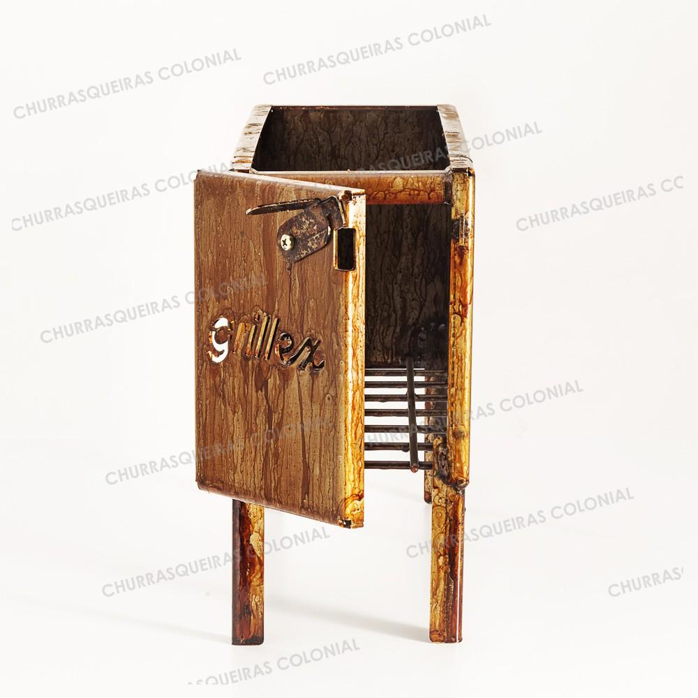 Firebox Grillex com Tampa Aço Carbono 54 x 18,5 cm