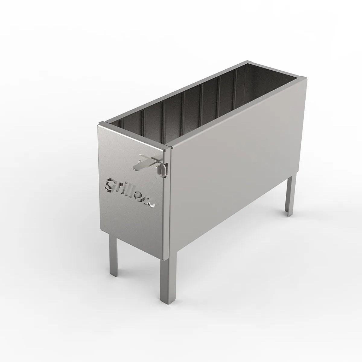 Firebox Grillex em Aço Inox 304 com Tampa  54 x 18,5 cm