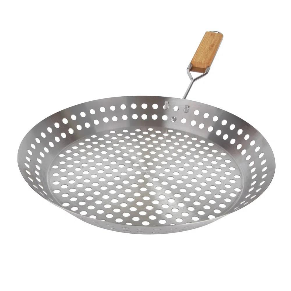 Frigideira Grelha para Churrasco 30,5 cm Aço Inox com Cabo