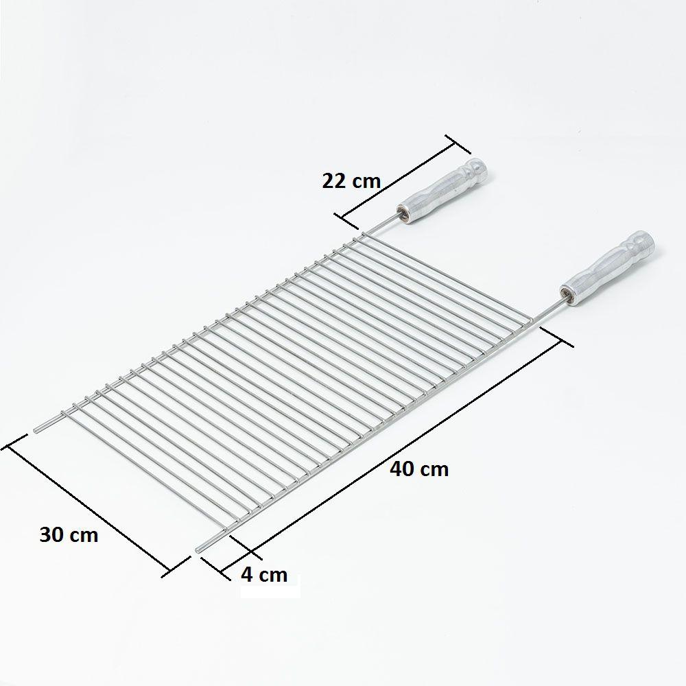 Grelha Aço Inox 304 Aramada 30 x 40 cm para Churrasco