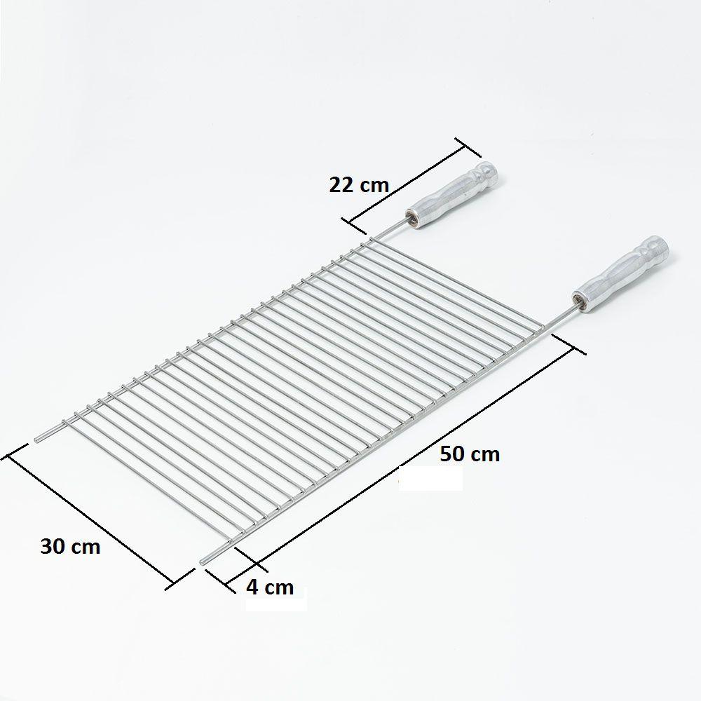 Grelha Aço Inox 304 Aramada 30 x 50 cm para Churrasco