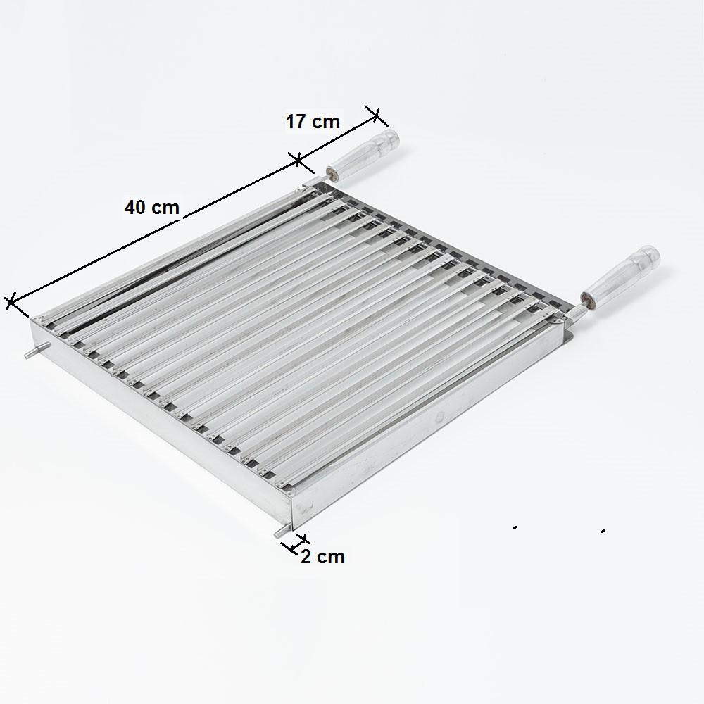 Grelha Argentina para Churrasco Aço Inox 430 com Coletor de Gordura 50 x 40 cm