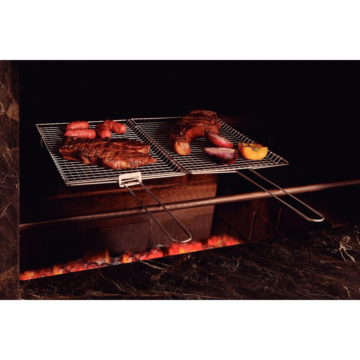Grelha Dupla Aço Inox 76 x 28 cm Tramontina