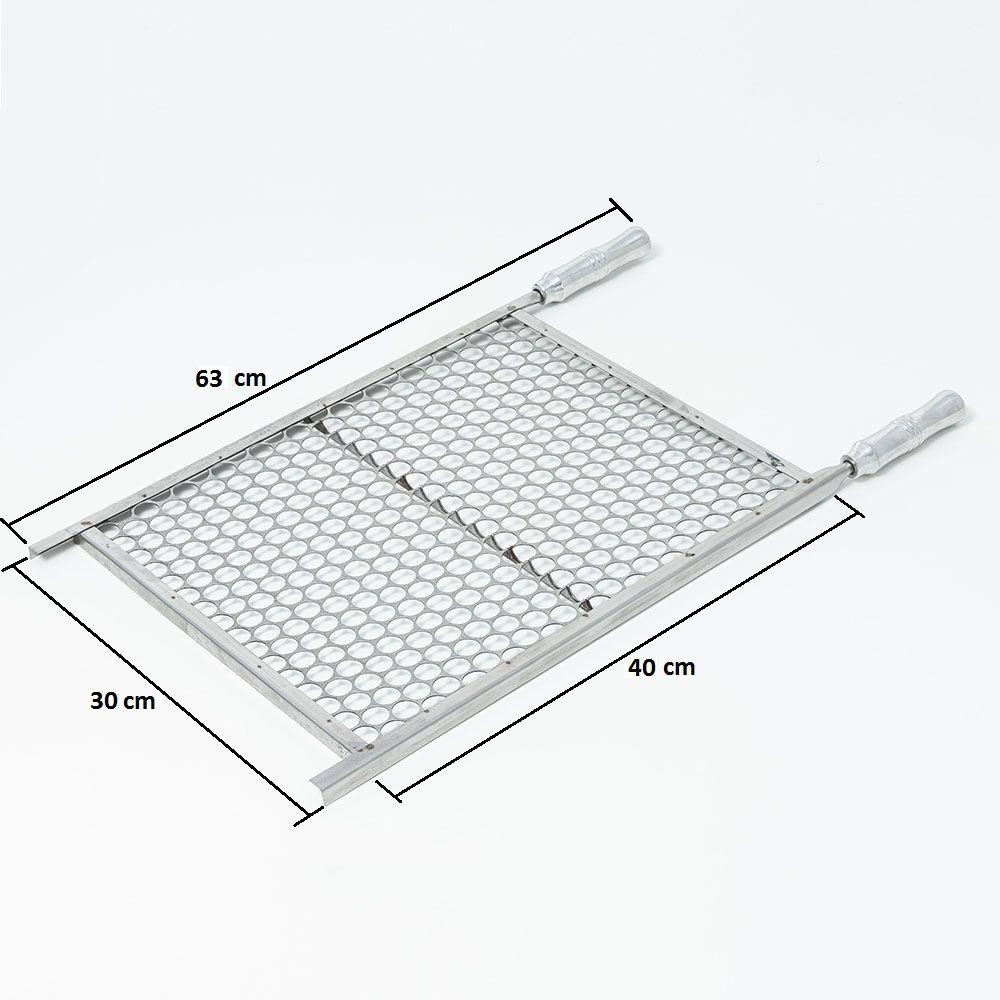 Grelha Moeda Aço Inox 30 x 40 cm para Churrasco