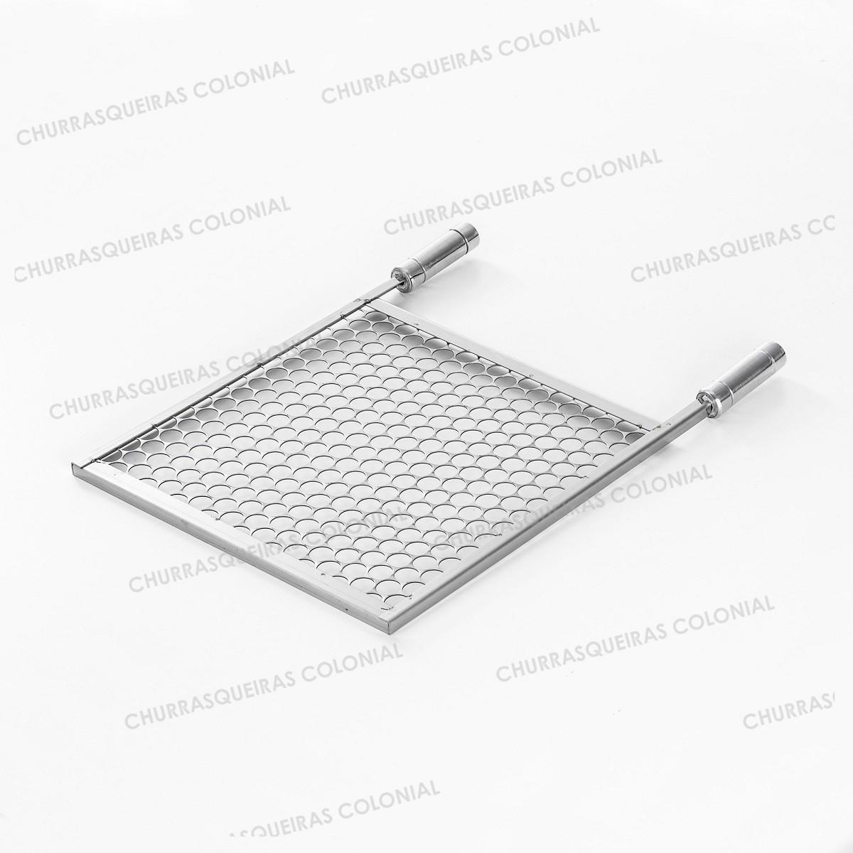 Grelha Moeda Aço Inox 40 x 40 cm para Churrasco Cabo Madeira Revestido Alumínio