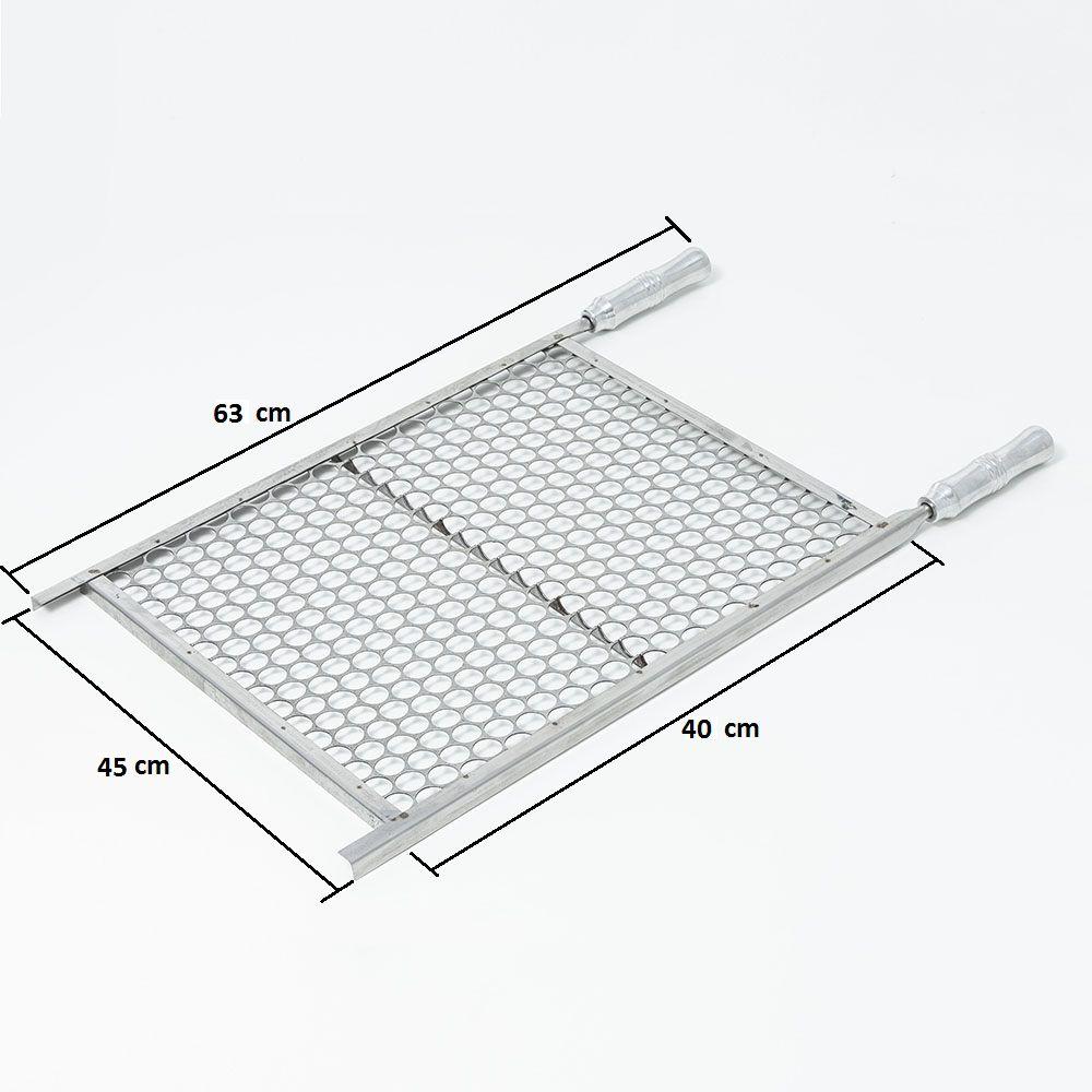 Grelha Moeda Aço Inox 45 x 40 cm para Churrasco