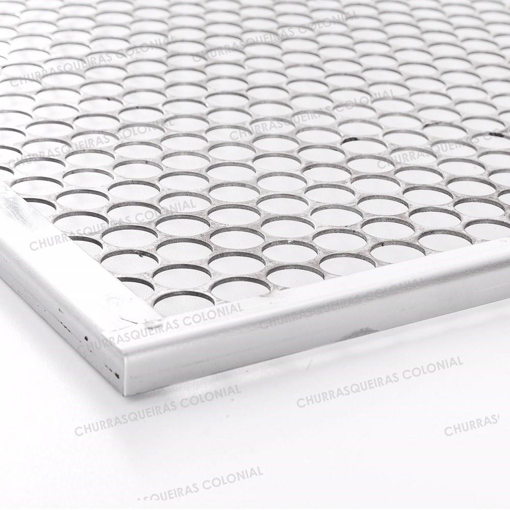 Grelha Moeda Aço Inox 50 x 40 cm Para Churrasco Cabo de madeira Revestido de Alumínio