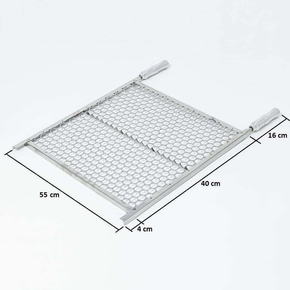 Grelha Moeda Aço Inox 55 x 40 cm para Churrasco