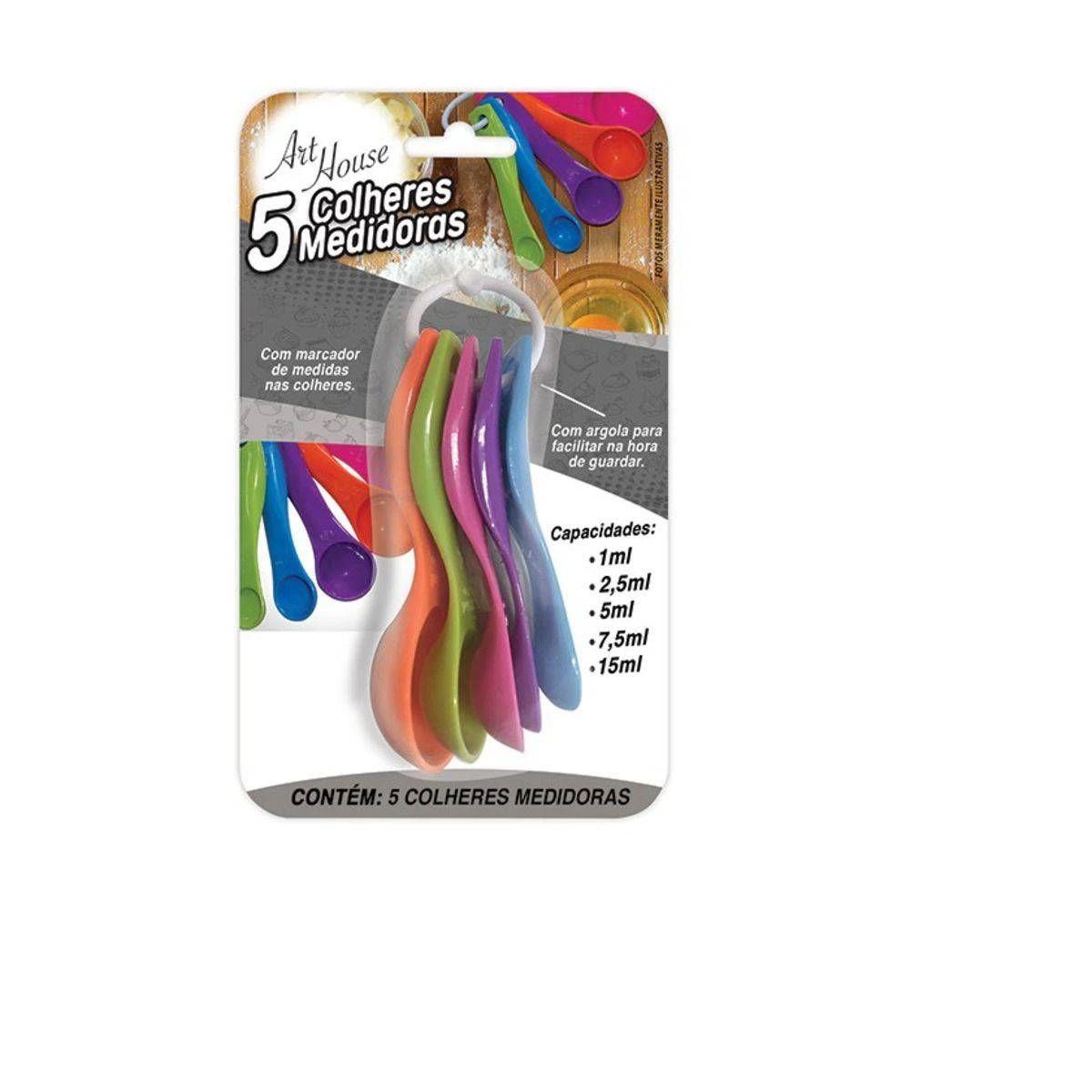Jogo Colheres Medidoras Coloridas 5 peças