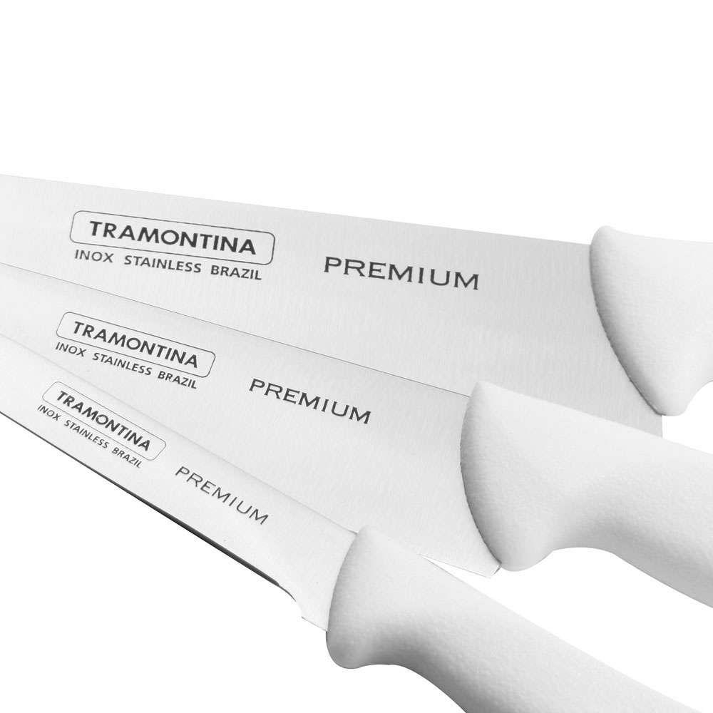 Jogo de Facas Tramontina Premium com Lâminas em Aço Inox e Cabos de Polipropileno Branco 3 Peças