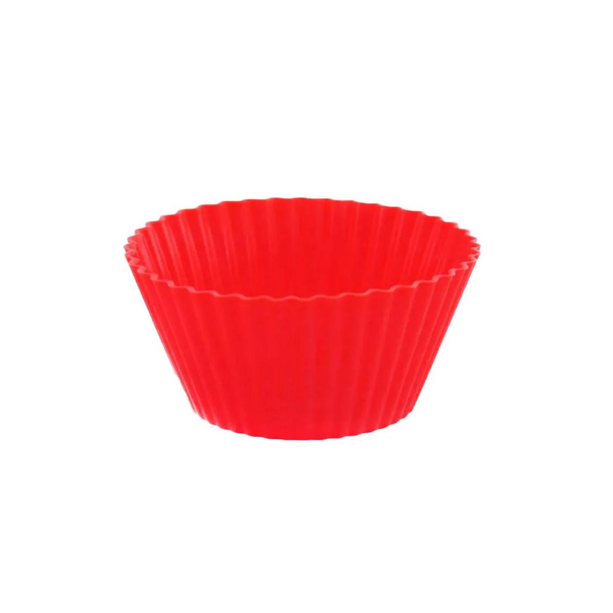 Jogo Forma de Silicone para Bolo Pudim Cupcake Vermelho 9 cm 4 peças