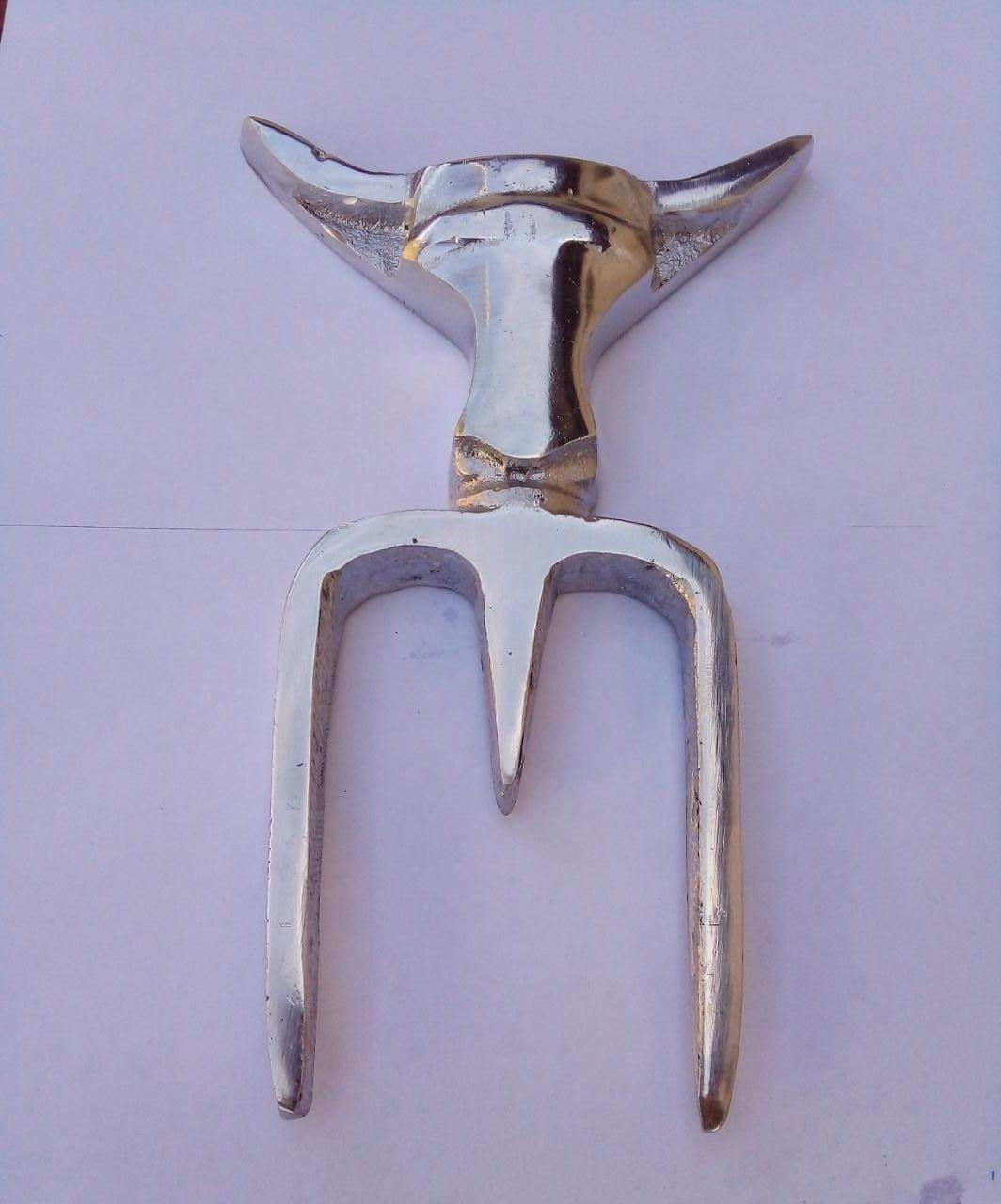 Jogo Garfo Tridente 2 peças Alumínio Fundido para Churrasco 16 cm