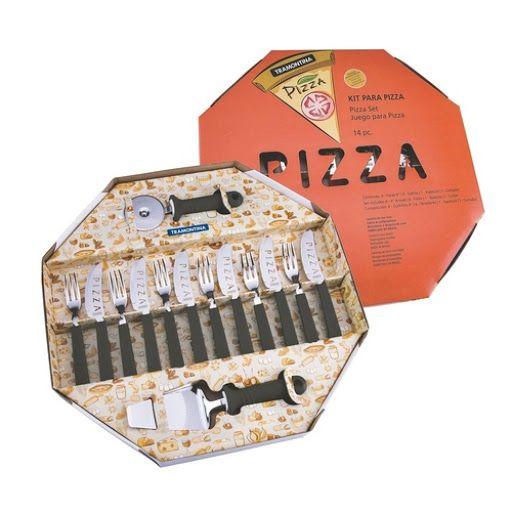 Kit para Pizza Tramontina com Lâminas em Aço Inox e Cabos de Polipropileno Preto 14 Peças