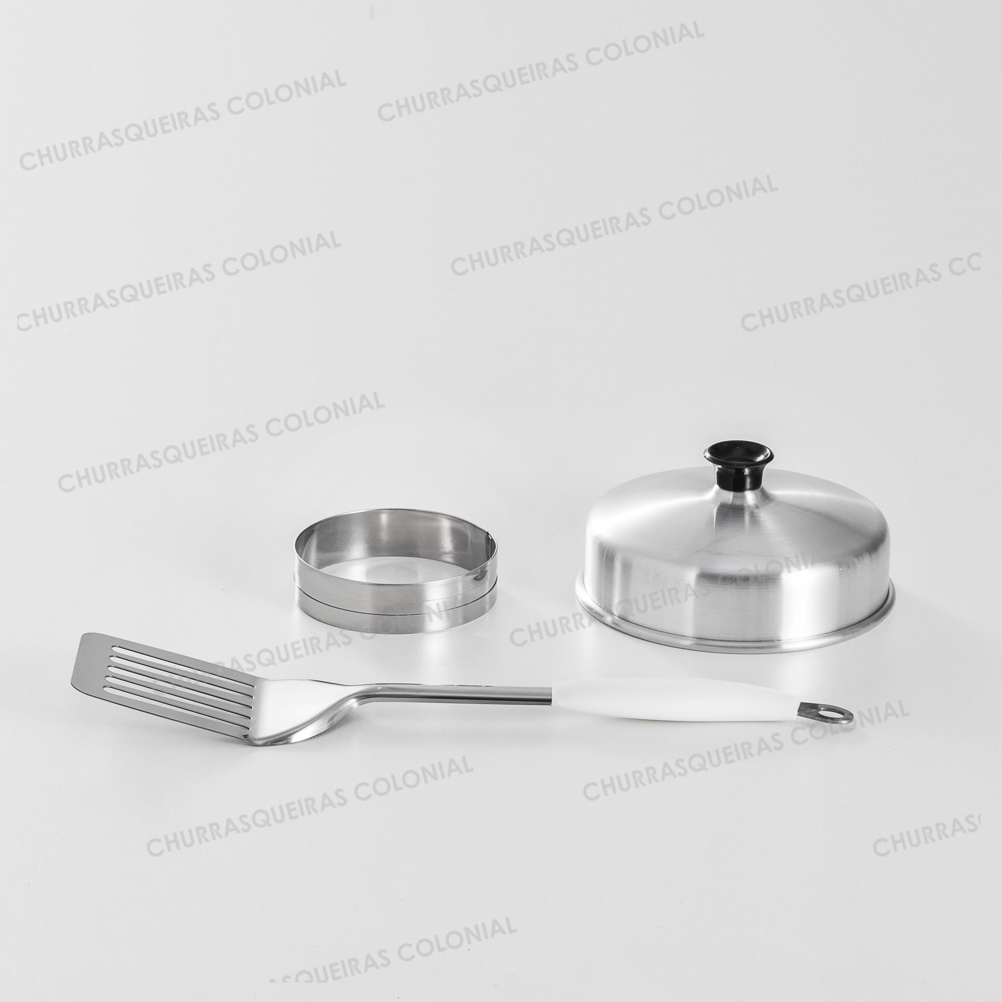 Kit 3 peças para hamburguer Espátula 33 cm Cabo Branco Aro Modelador Hamburguer e Abafador