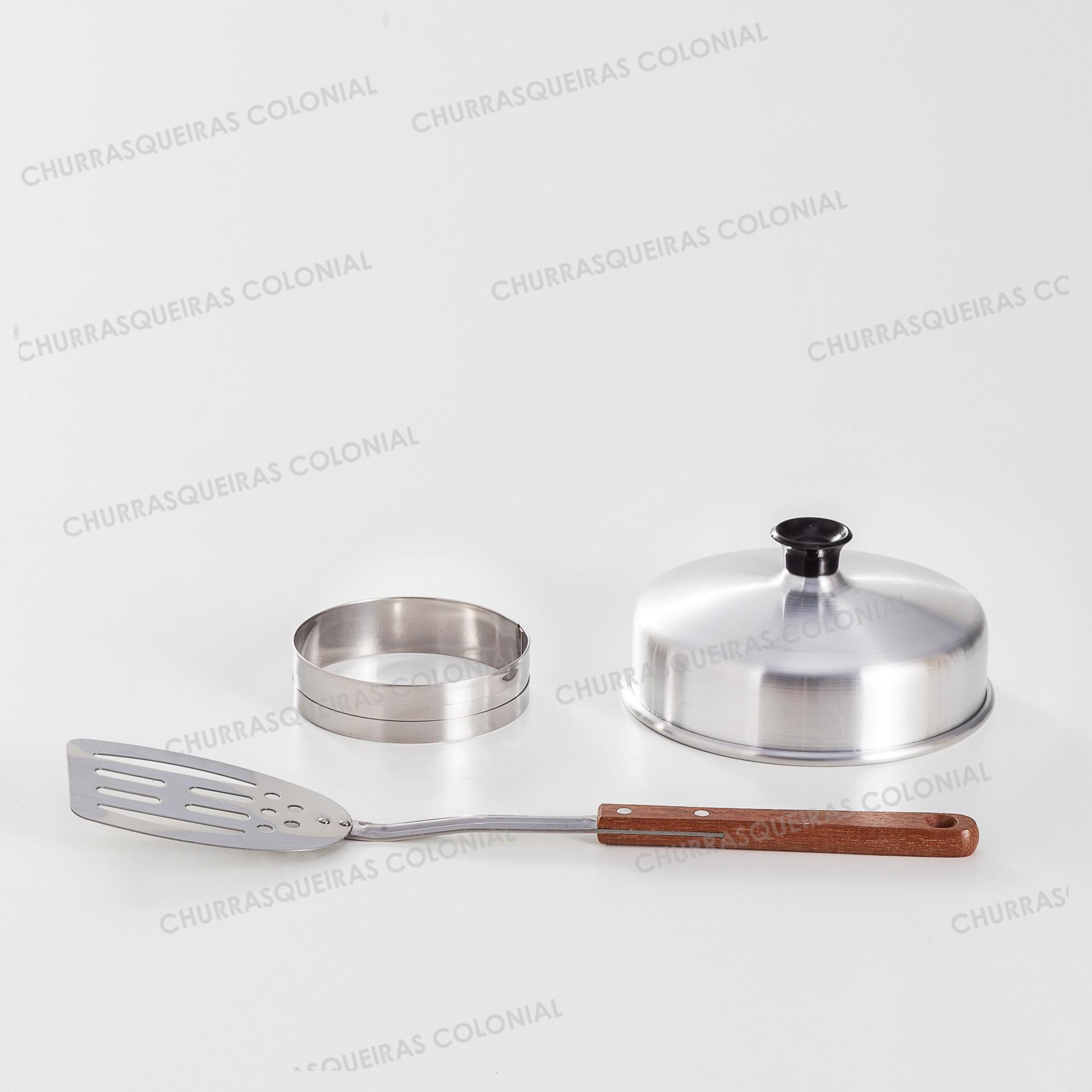 Kit 3 peças para Hambúrguer Espátula 36 cm Aço Inox Aro Modelador 10 x 2 cm Aço Inox e Abafador Alumínio 16 cm
