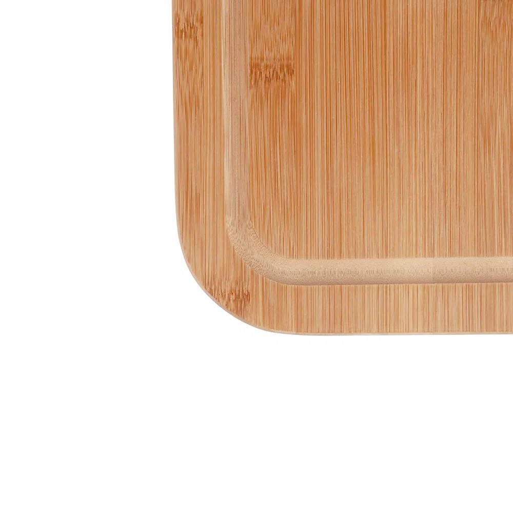 Kit para Churrasco Tábua de Corte em Bambu com Faca e Garfo Lâminas em Aço Inox e Cabos em Bambu 3 Peças Mor