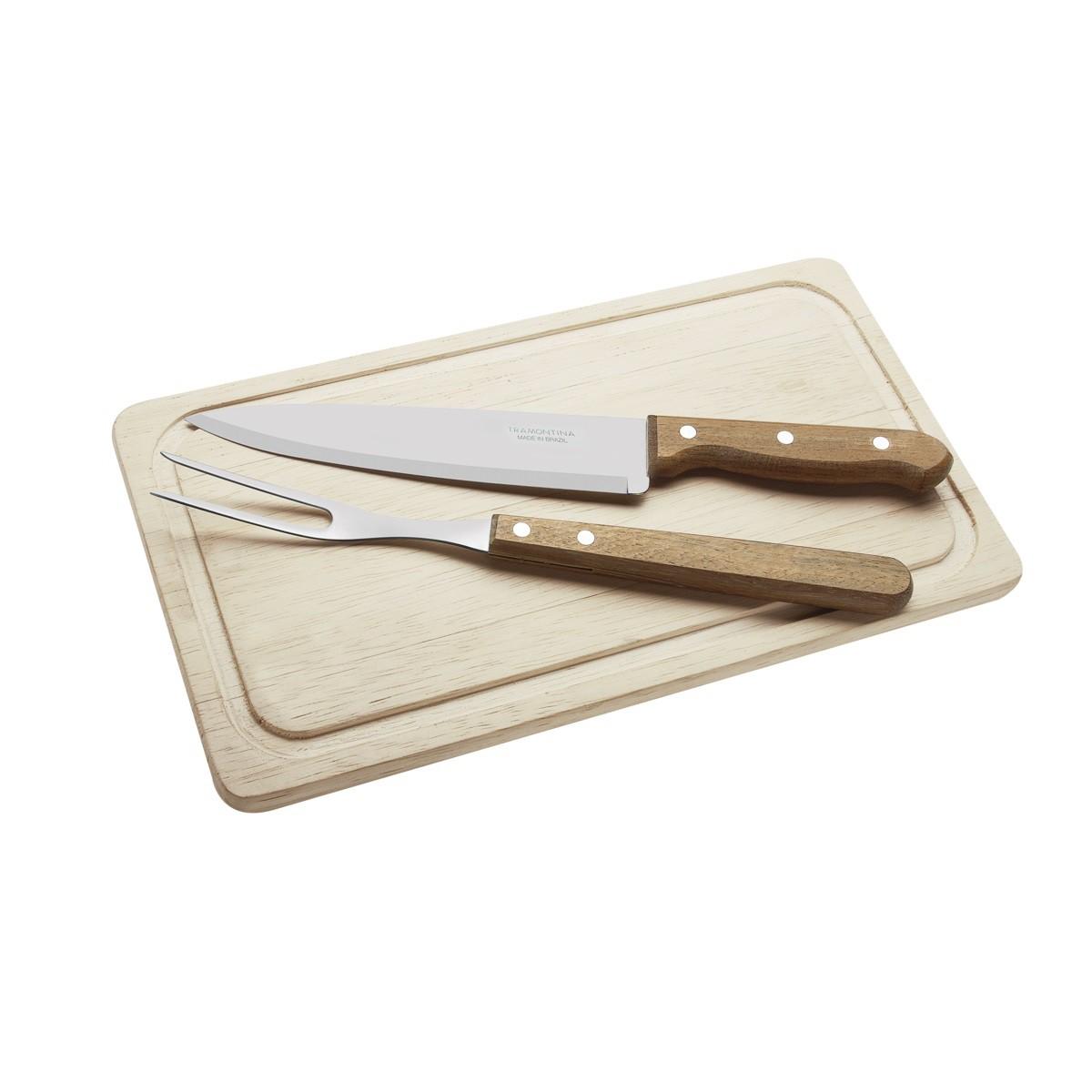 Kit para Churrasco Tábua de Corte em Madeira Faca e Garfo com Lâminas em Aço Inox e Cabos em Madeira Natural 3 Peças Tramontina