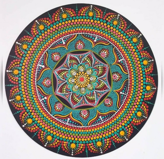Mandala Terapêutica Decorativa de Parede MDF com Pintura 35 cm