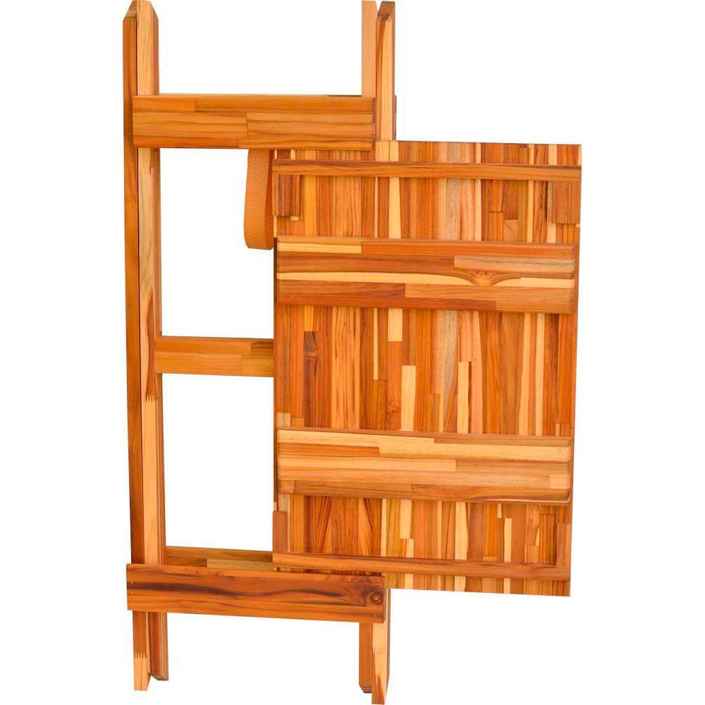 Mesa Auxiliar Dobrável para Churrasco com Tábua de Corte em Madeira Teca 60 x 40 cm