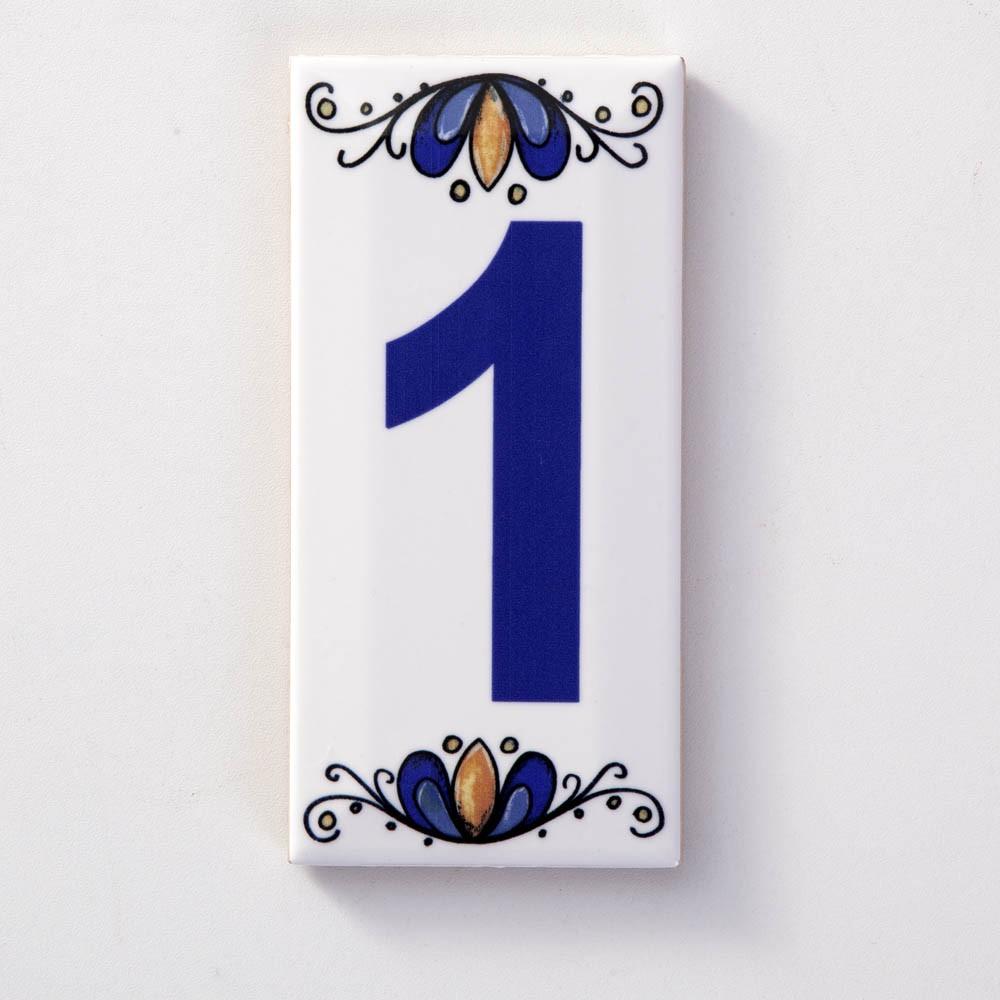 Número 1 para Casa Residência em Cerâmica Esmaltada 7,5 x 15 cm