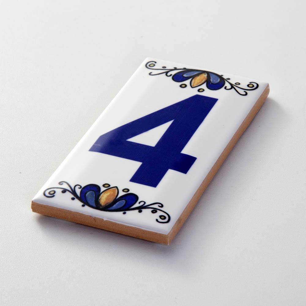 Número 4 para Casa Residência em Cerâmica Esmaltada 7,5 x 15 cm