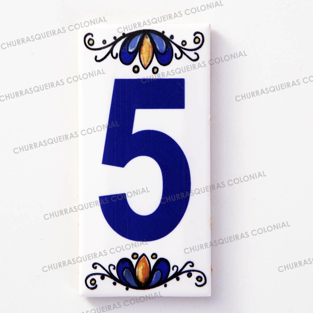 Número 5 para Casa Residência em Cerâmica Esmaltada 7,5 x 15 cm