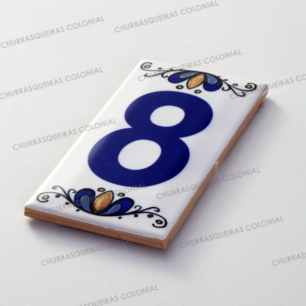 Número 8 para Casa Residência em Cerâmica Esmaltada 7,5 x 15 cm