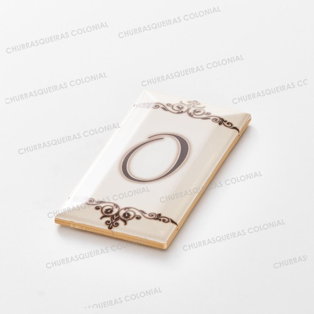 """Número para Residência """"0"""" Cerâmica Esmaltada Marrom 7,5 x 15 cm"""