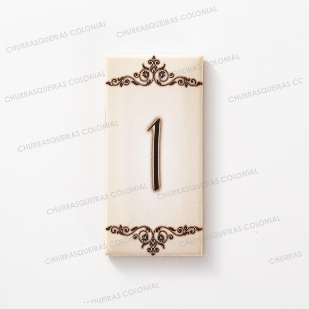 """Número para Residência """"1"""" Cerâmica Esmaltada Marrom 7,5 x 15 cm"""