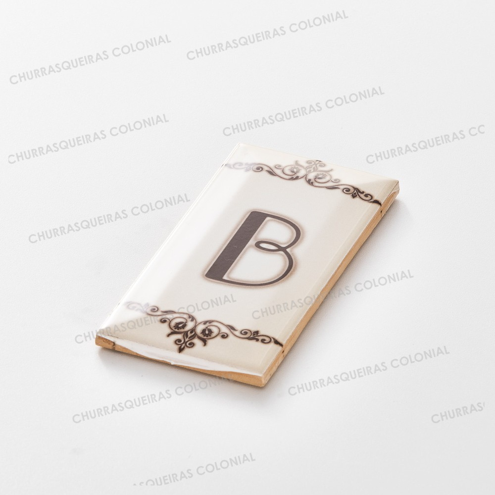 "Número para Residência Letra ""B"" Cerâmica Esmaltada Marrom 7,5 x 15 cm"