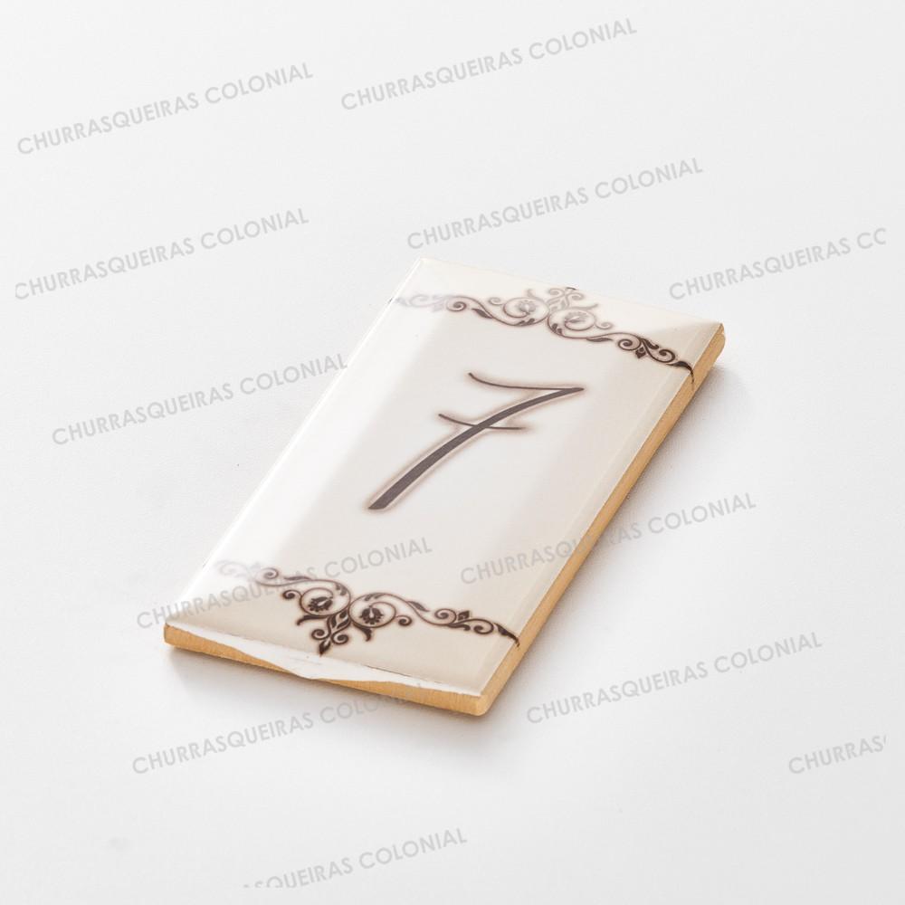 """Número para Residência """"7"""" Cerâmica Esmaltada Marrom 7,5 x 15 cm"""