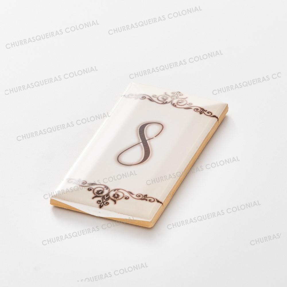 """Número para Residência """"8"""" Cerâmica Esmaltada Marrom 7,5 x 15 cm"""
