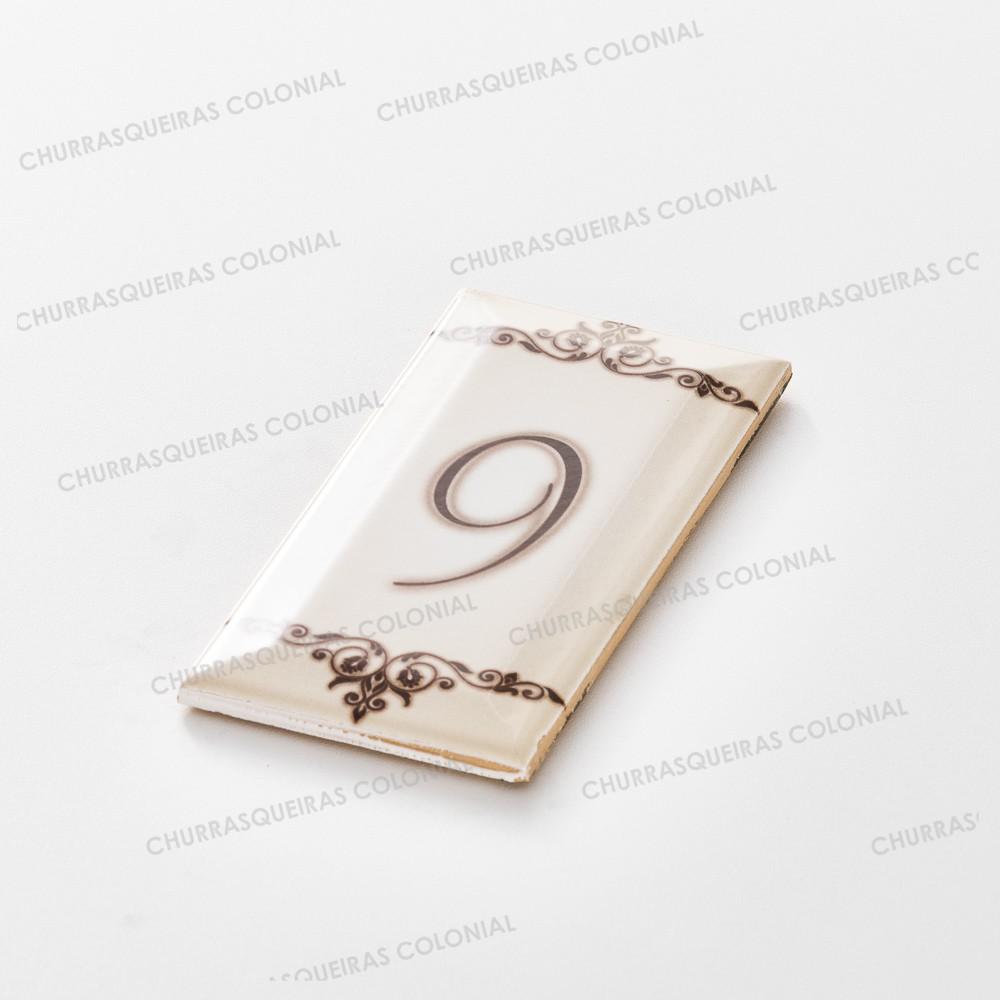 """Número para Residência """"9"""" Cerâmica Esmaltada Marrom 7,5 x 15 cm"""