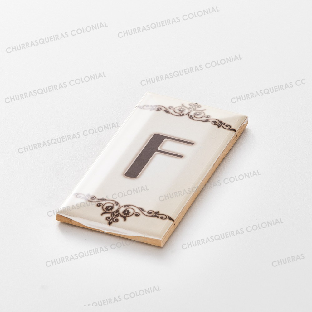 "Número para Residência Letra ""F"" Cerâmica Esmaltada Marrom 7,5 x 15 cm"