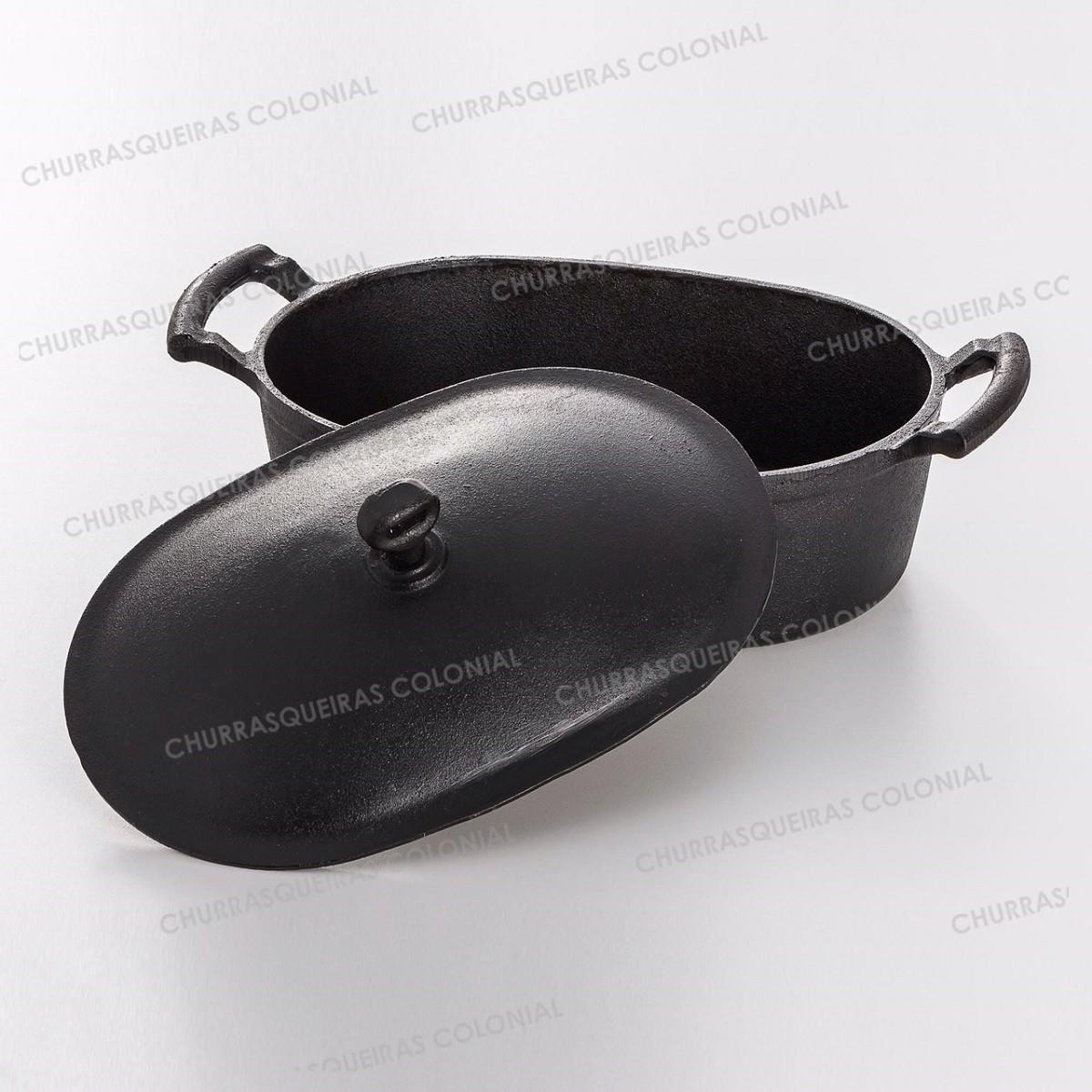 Panela de Ferro Fundido Oval para Pão Forno e Molhos 5 litros