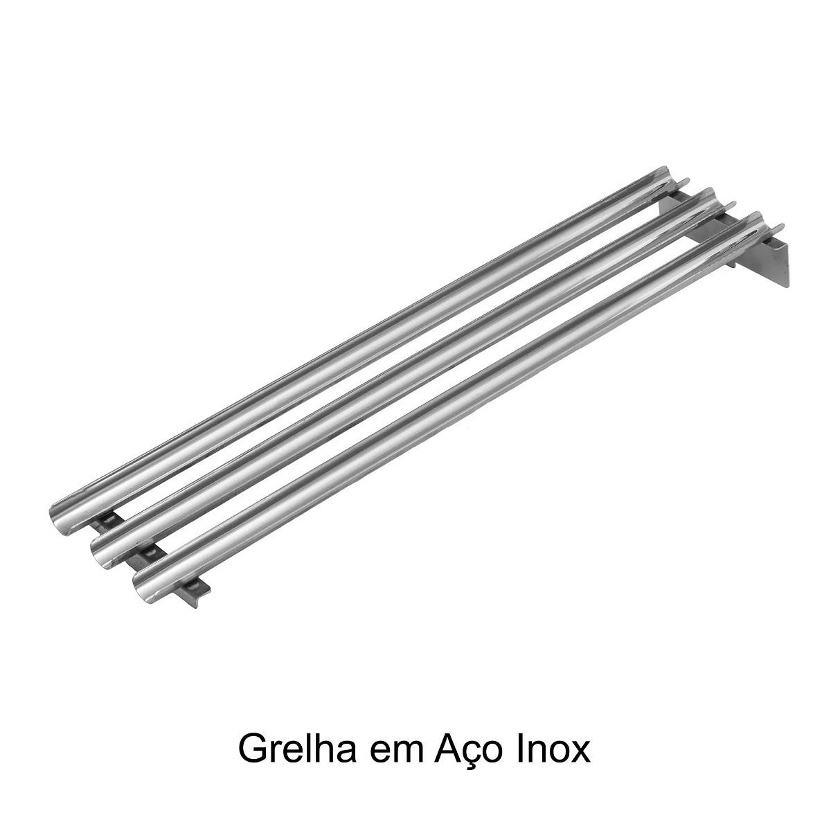 Parrilla Grillex para Churrasco Aço Inox 304 com Grelha Argentina e Grelha de Descanso 73 cm