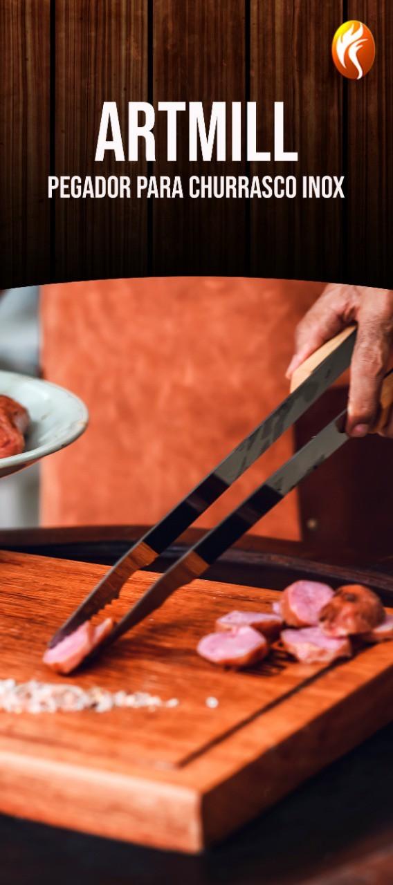 Pegador de Grelhados Carne Churrasco Aço Inox Cabo de Madeira 47 cm