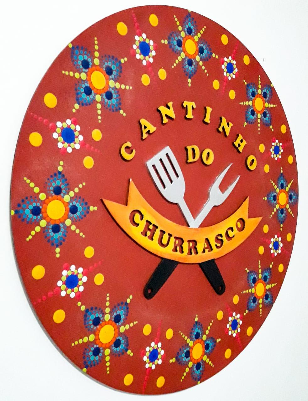 Placa Decorativa Cantinho do Churrasco Pintura Livre 35 cm CC-30