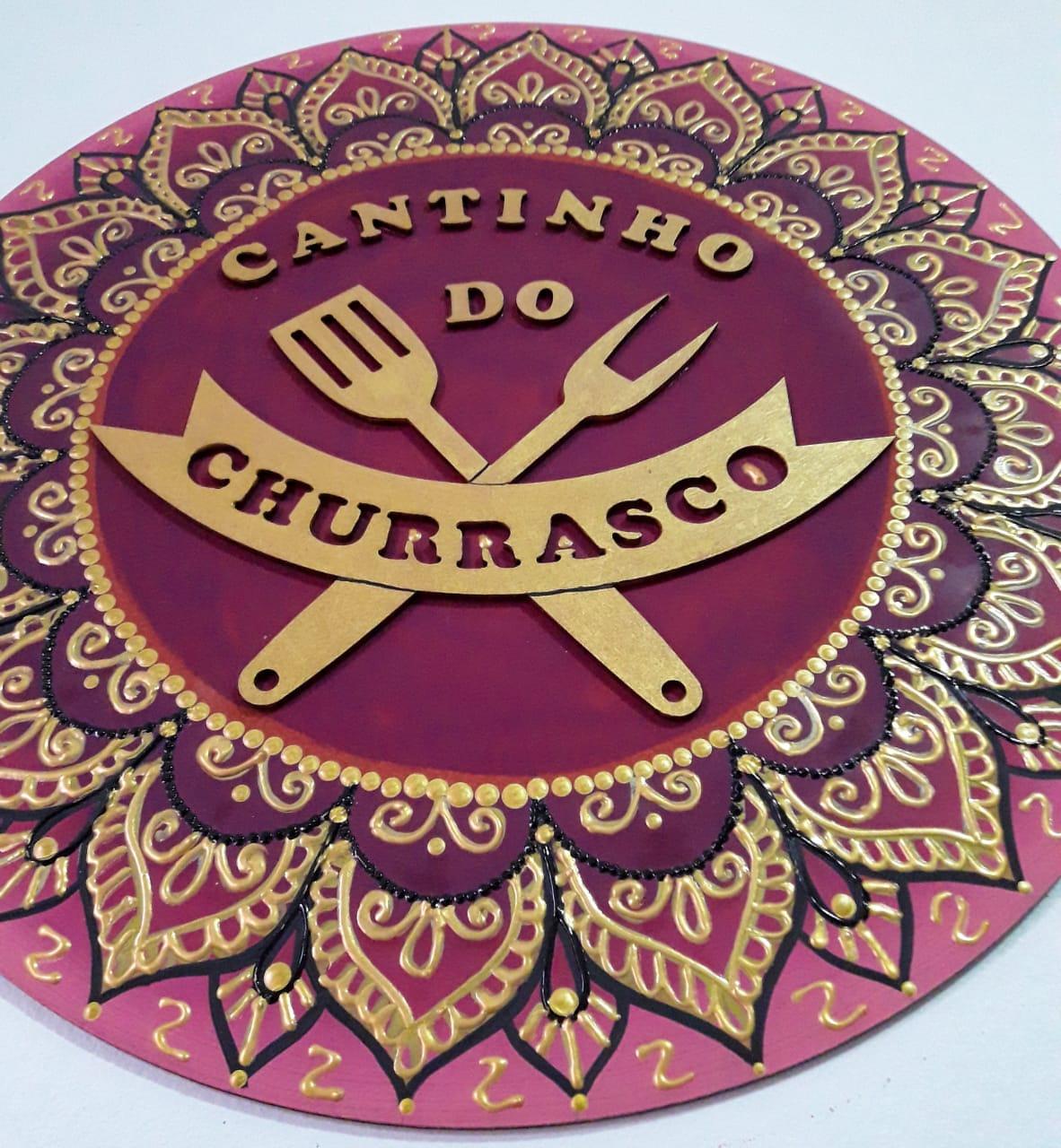 Placa Decorativa Cantinho do Churrasco Pintura Livre 35 cm CC-40
